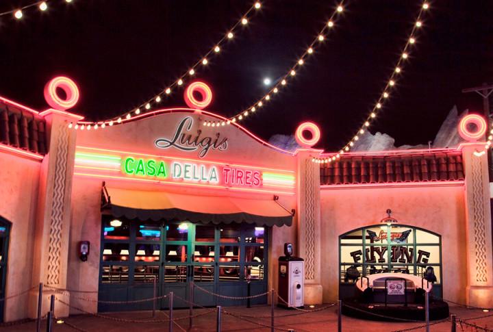Cars Land Disney California Adventure At Night Luigis Flying Tires