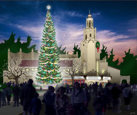 Buena Vista Street Christmas Concept Art 2